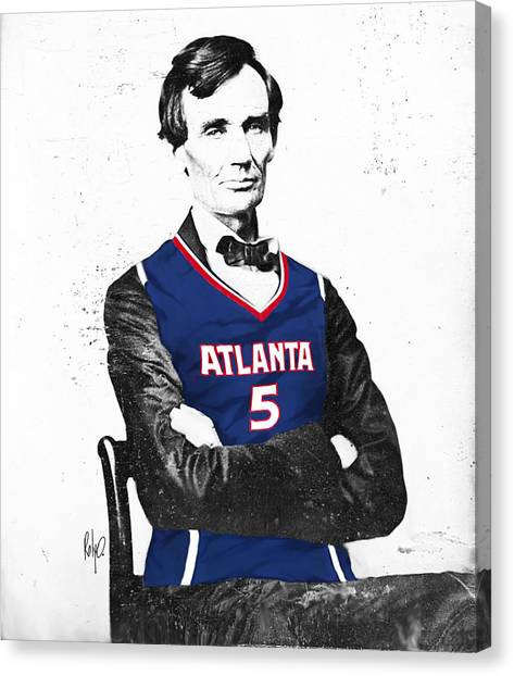 Atlanta Hawks Canvas Print - Abe Lincoln In A Josh Smith Atlanta Hawks Jersey by Roly O