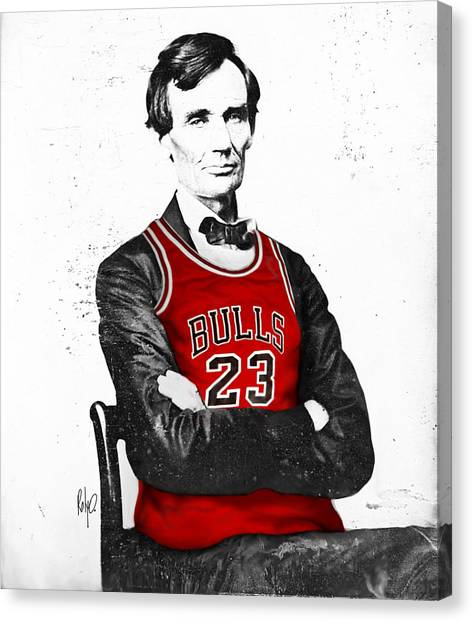 Cities Canvas Print - Abe Lincoln In A Michael Jordan Chicago Bulls Jersey by Roly O