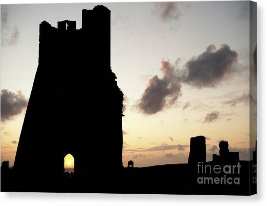 Aberystwyth Castle Tower Ruins At Sunset, Wales Uk Canvas Print