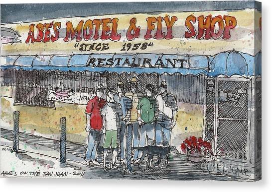 Abes Motel And Fly Shop Canvas Print