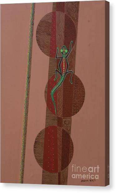 Lizards Canvas Print - Aboriginal Lizard by Kaaria Mucherera
