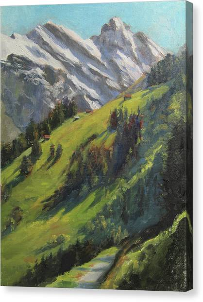Switzerland Canvas Print - Above It All Plein Air Study by Anna Rose Bain