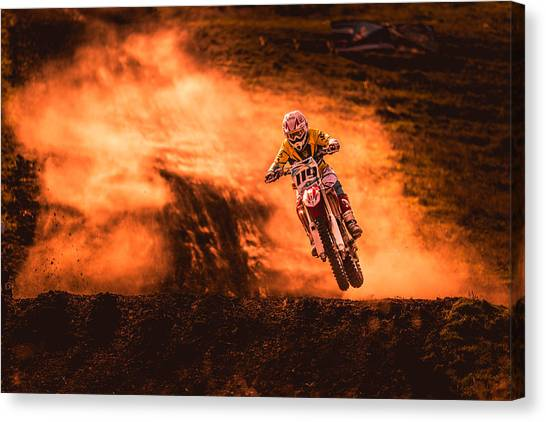Motocross Canvas Print - Above by Salkov Igor