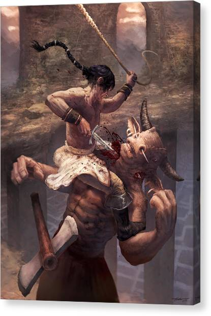 Minotaurs Canvas Print - Above The Labyrinth  by Ethan Harris