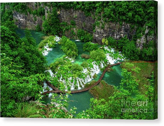 Above The Paths And Waterfalls At Plitvice Lakes National Park, Croatia Canvas Print