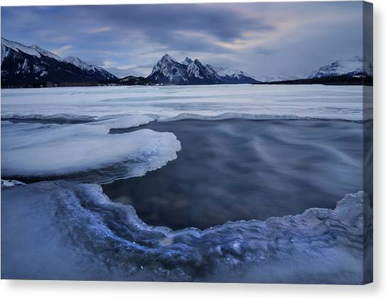 Saskatchewan Canvas Print - Abraham Lake Sans Bubbles by Dan Jurak