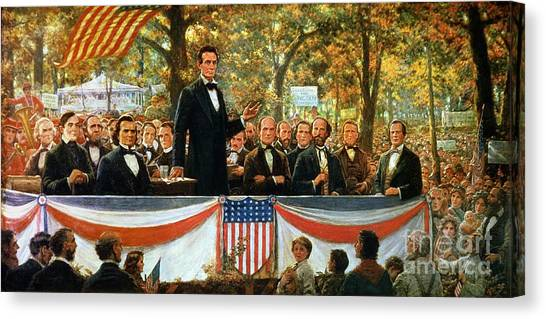Stars And Stripes Canvas Print - Abraham Lincoln And Stephen A Douglas Debating At Charleston by Robert Marshall Root