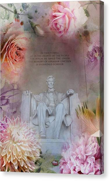 Lincoln Memorial Canvas Print - Abraham Lincoln Memorial At Spring by Marianna Mills