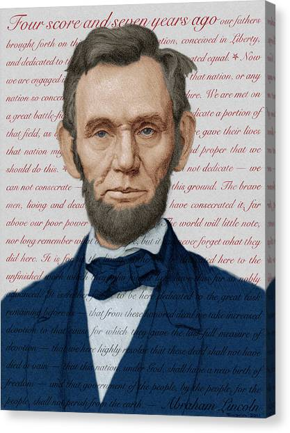 Abraham Lincoln - Patriotic Palette Canvas Print