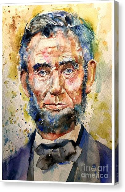 Hawks Canvas Print - Abraham Lincoln Watercolor by Suzann's Art