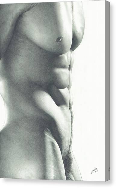 Male Nude Art Canvas Print - Abs-olutely by Maciel Cantelmo