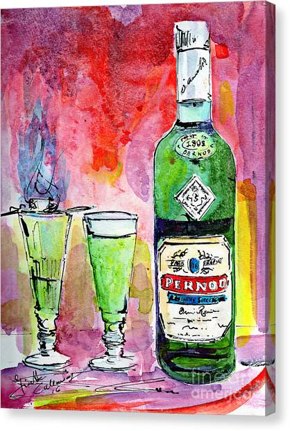 Absinthe Bottle And Glasses Watercolor By Ginette Canvas Print