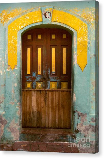 abstract architecture photograph - Door with Yellow Bars Canvas Print
