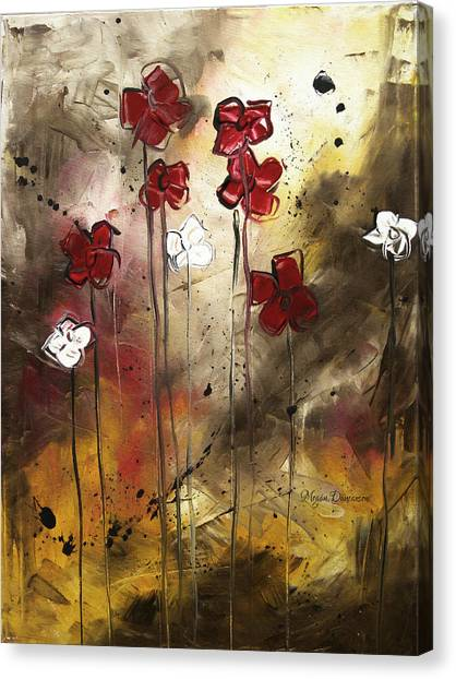 Canvas Print - Abstract Art Original Flower Painting Floral Arrangement By Madart by Megan Duncanson