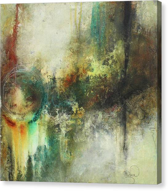 Abstract Art With Blue Green And Warm Tones Canvas Print