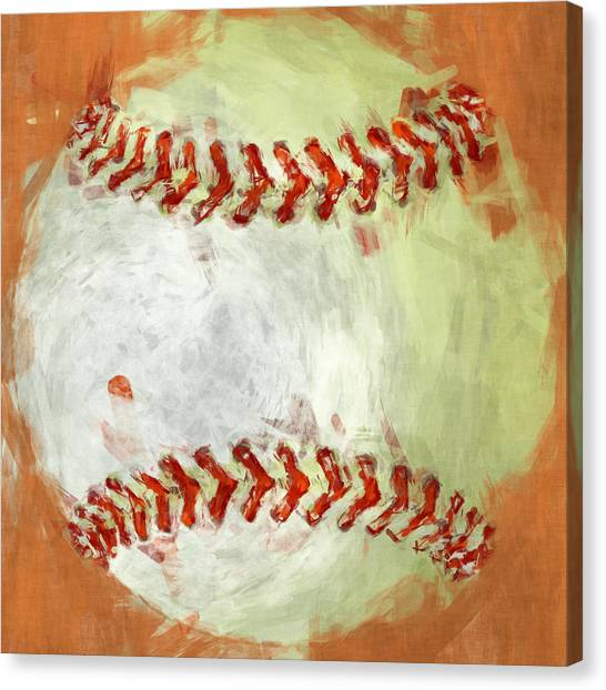 Baseball Canvas Print - Abstract Baseball by David G Paul