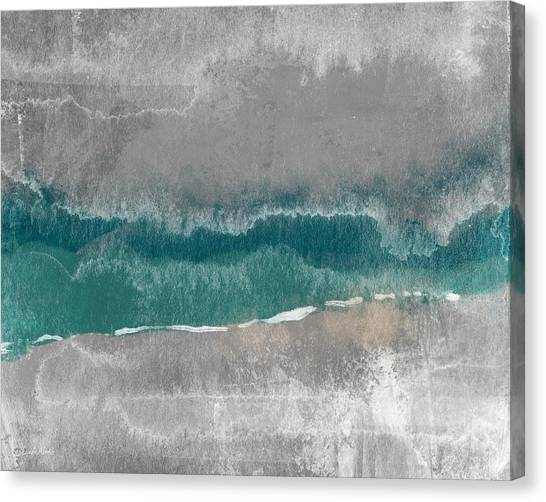 Waving Canvas Print - Abstract Beach Landscape- Art By Linda Woods by Linda Woods