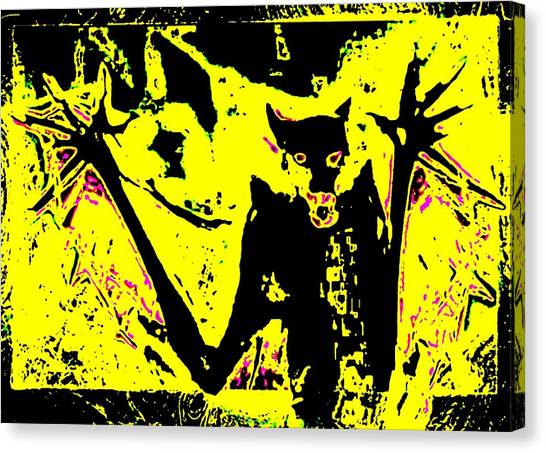 Black On Yellow Dog-man Canvas Print