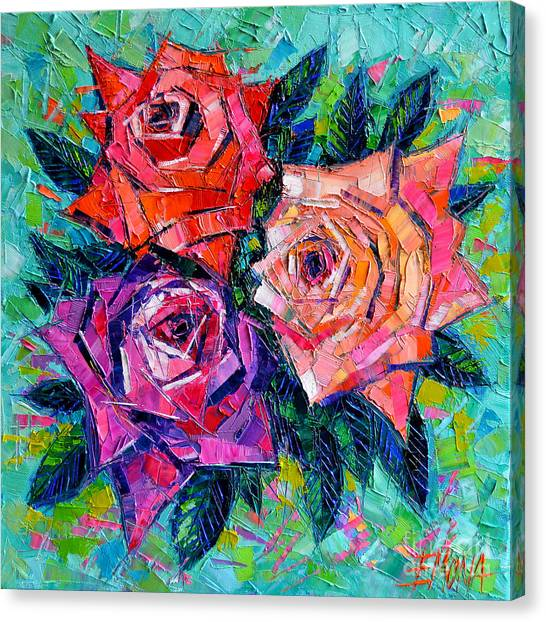 Red Roses Canvas Print - Abstract Bouquet Of Roses by Mona Edulesco