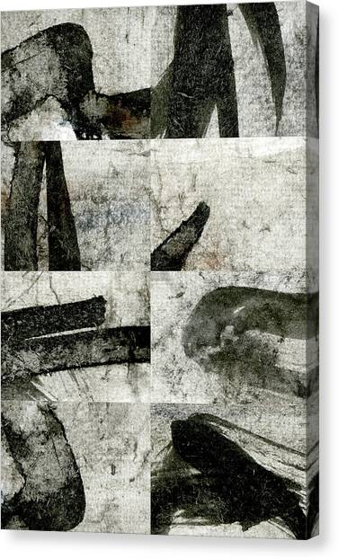Simple Canvas Print - Abstract Calligraphy Collage 1 by Carol Leigh