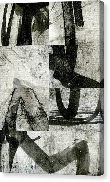 Simple Canvas Print - Abstract Calligraphy Collage 2 by Carol Leigh