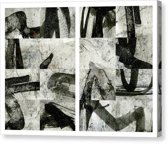 Simple Canvas Print - Abstract Calligraphy Collage Diptych by Carol Leigh