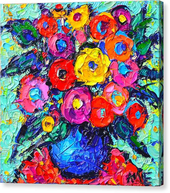 Abstract Colorful Wild Roses Modern Impressionist Palette Knife Oil Painting By Ana Maria Edulescu  Canvas Print