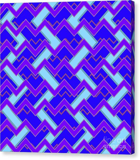 Suprematism Canvas Print - Abstract Cyan, Purple And Blue Pattern For Home Decoration by Drawspots Illustrations