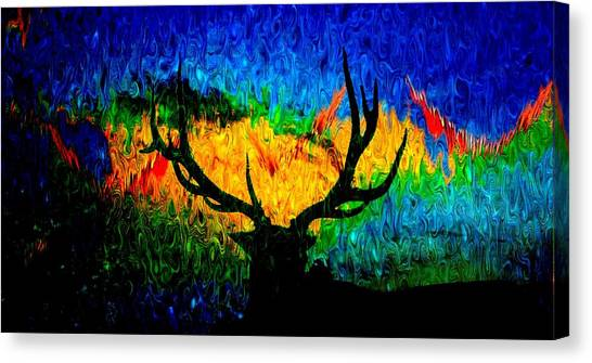 Abstract Elk Scenic View Canvas Print