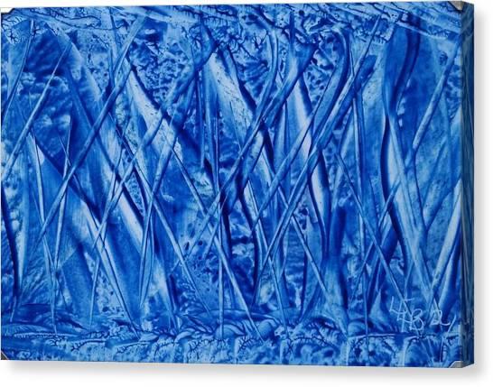 Abstract Encaustic Blues Canvas Print