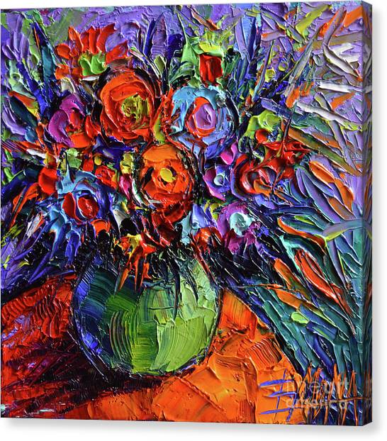 Post-modern Art Canvas Print - Abstract Floral On Orange Table - Impasto Palette Knife Oil Painting by Mona Edulesco