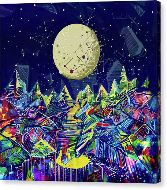 Galaxy Canvas Print - Abstract Forest by Bekim Art
