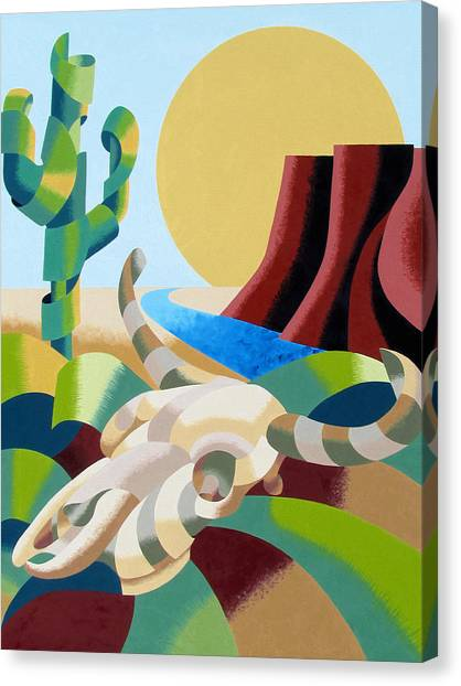 Abstract Futurist Soutwestern Desert Landscape Oil Painting  Canvas Print