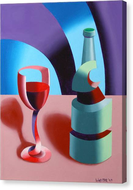 Abstract Futurist Wine And Glass Still Life Oil Painting Canvas Print by Mark Webster