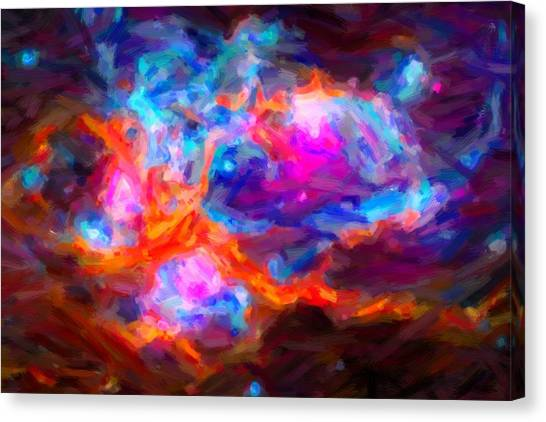 Asar Studios Canvas Print - Abstract Galactic Nebula With Cosmic Cloud 7   24x16 by Celestial Images