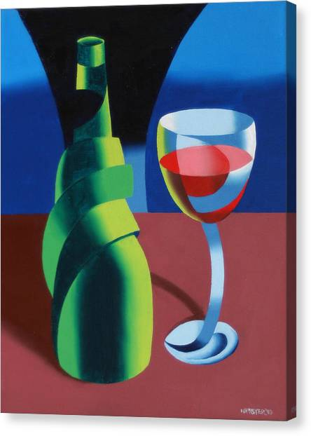 Abstract Geometric Wine Glass And Bottle Canvas Print by Mark Webster