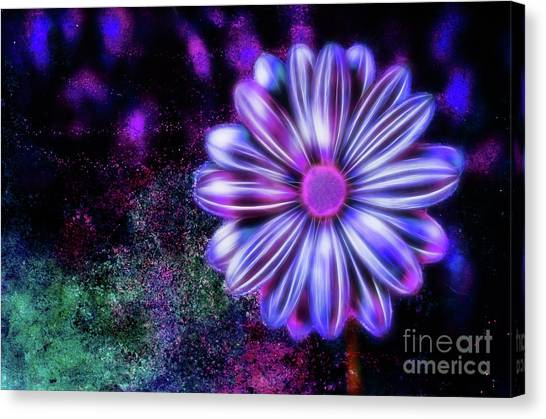 Abstract Glowing Purple And Blue Flower Canvas Print