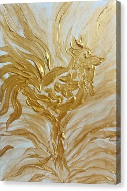 Abstract Golden Rooster Canvas Print
