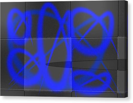 Abstract Graffitis In Blue Canvas Print by Martine Affre Eisenlohr