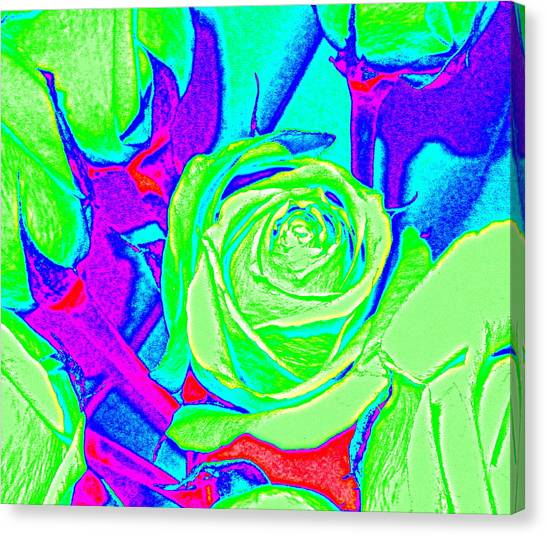 Abstract Green Roses Canvas Print