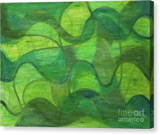 Abstract Green Wave Connection Canvas Print