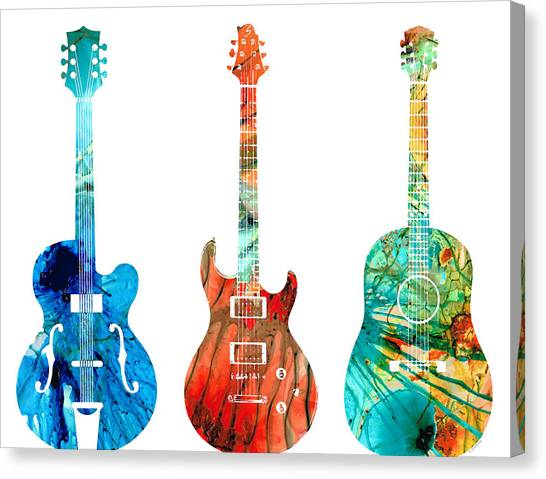 Acoustic Guitars Canvas Print - Abstract Guitars By Sharon Cummings by Sharon Cummings
