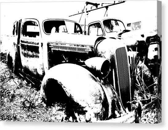 Abstract High Contrast Old Car Canvas Print by MIke Loudemilk