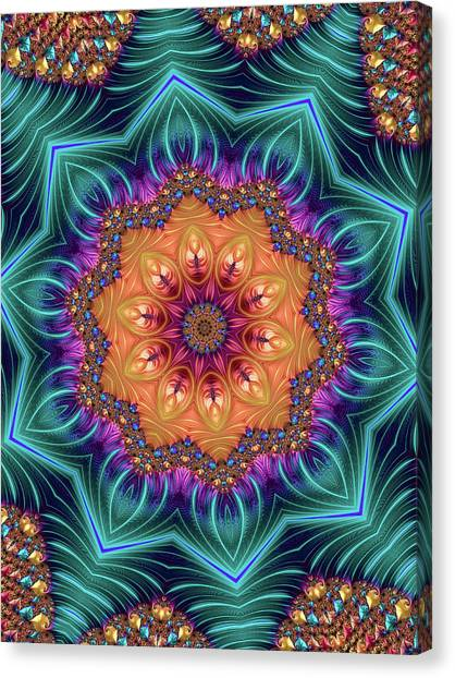 Canvas Print featuring the digital art Abstract Kaleidoscope Art With Wonderful Colors by Matthias Hauser