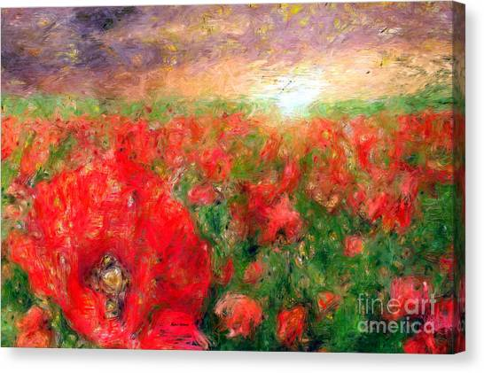 Abstract Landscape Of Red Poppies Canvas Print