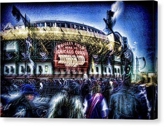 Milwaukee Brewers Canvas Print - abstract look at the crowd filing in for a Cub's game by Sven Brogren