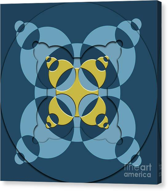 Arte Canvas Print - Abstract Mandala Blue, Dark Blue And Green Pattern For Home Decoration by Drawspots Illustrations