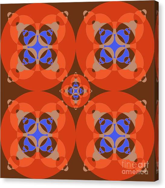 Arte Canvas Print - Abstract Mandala Orange, Brown, Blue And Cyan Pattern For Home Decoration by Drawspots Illustrations