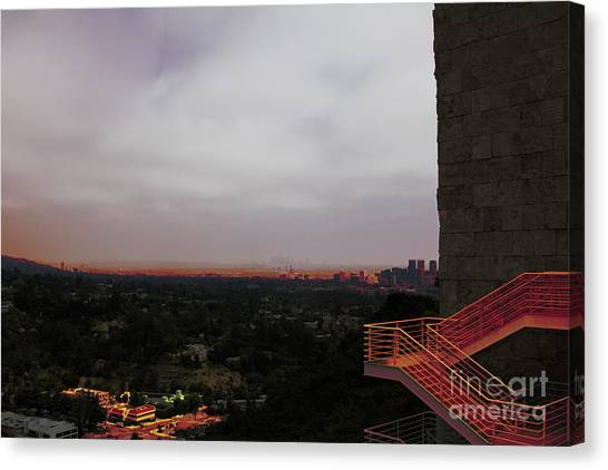 J Paul Getty Canvas Print - Abstract Mixed Media Getty View Los Angeles California  by Chuck Kuhn