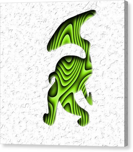 Abstract Monster Cut-out Series - Green Stroll Canvas Print
